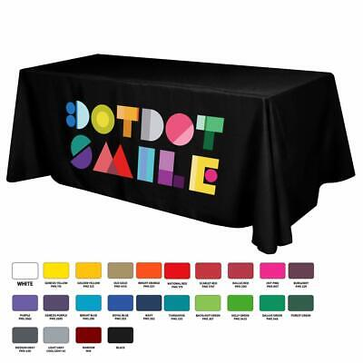 6 Feet 3 sided Custom Table cloth with your Logo and Message UNLIMITED COLORS - Customized Tablecloth
