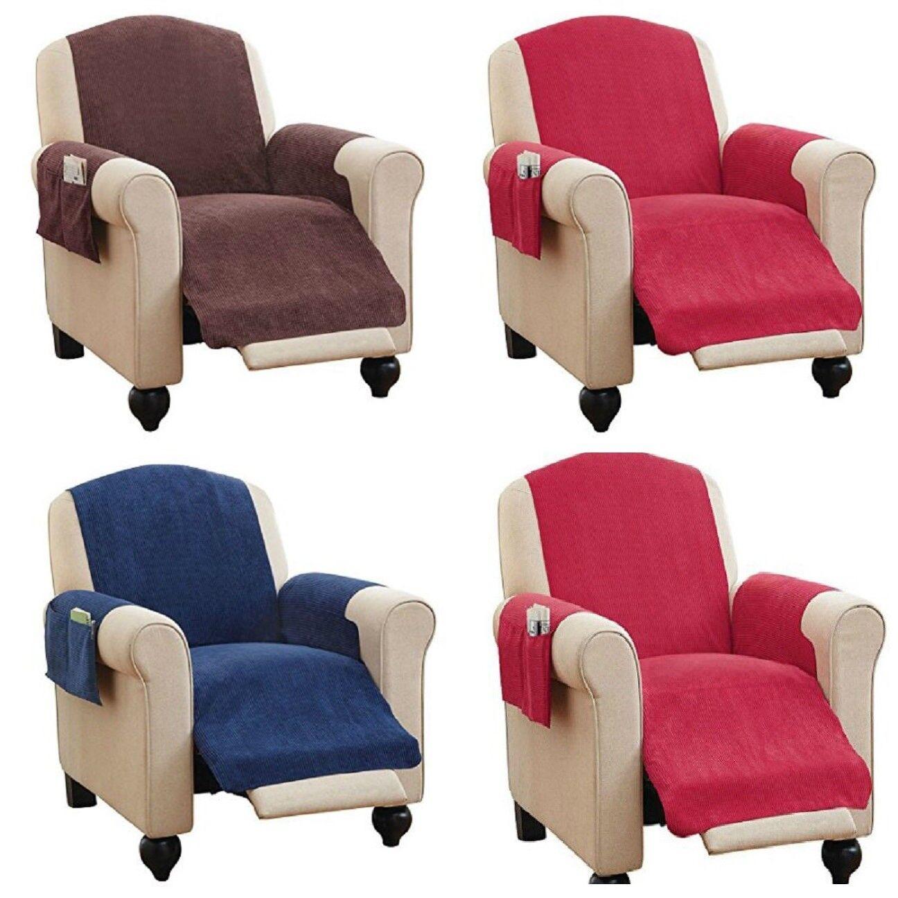Faux Chenille Recliner Chair Cover & Pockets READ DESCRIPTION Read Description!! Furniture