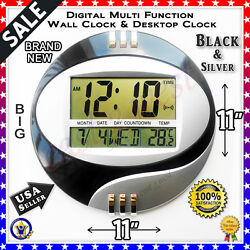 11LCD Circular Digital Desktop +Wall Clock Thermometer Time Alarm Date Calendar