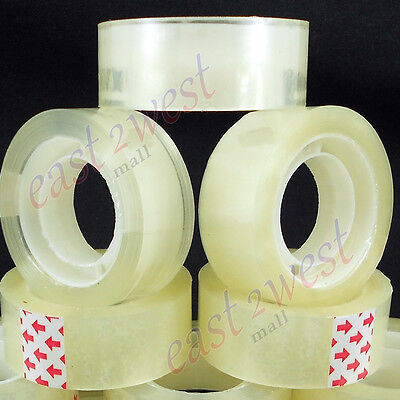 6 Rolls Transparent Crystal Clear Tape 34x1000 Dispenser Refill 1 Core New