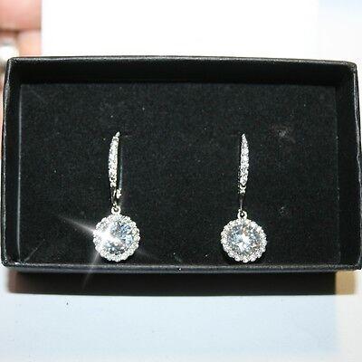 Diamond Alternatives Round Leverback Dangle Earrings 14k White Gold over 925 SS 14k White Gold Leverback Earrings