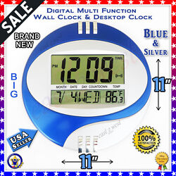 LCD Circular Digital Desketop +Wall Clock Thermometer  Time Alarm Date Calendar