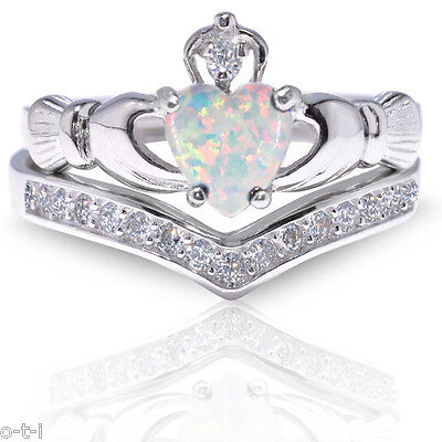 Diamond Set Celtic Ring - White Opal Claddagh Heart Simulated Diamond Celtic Sterling Silver Ring Set