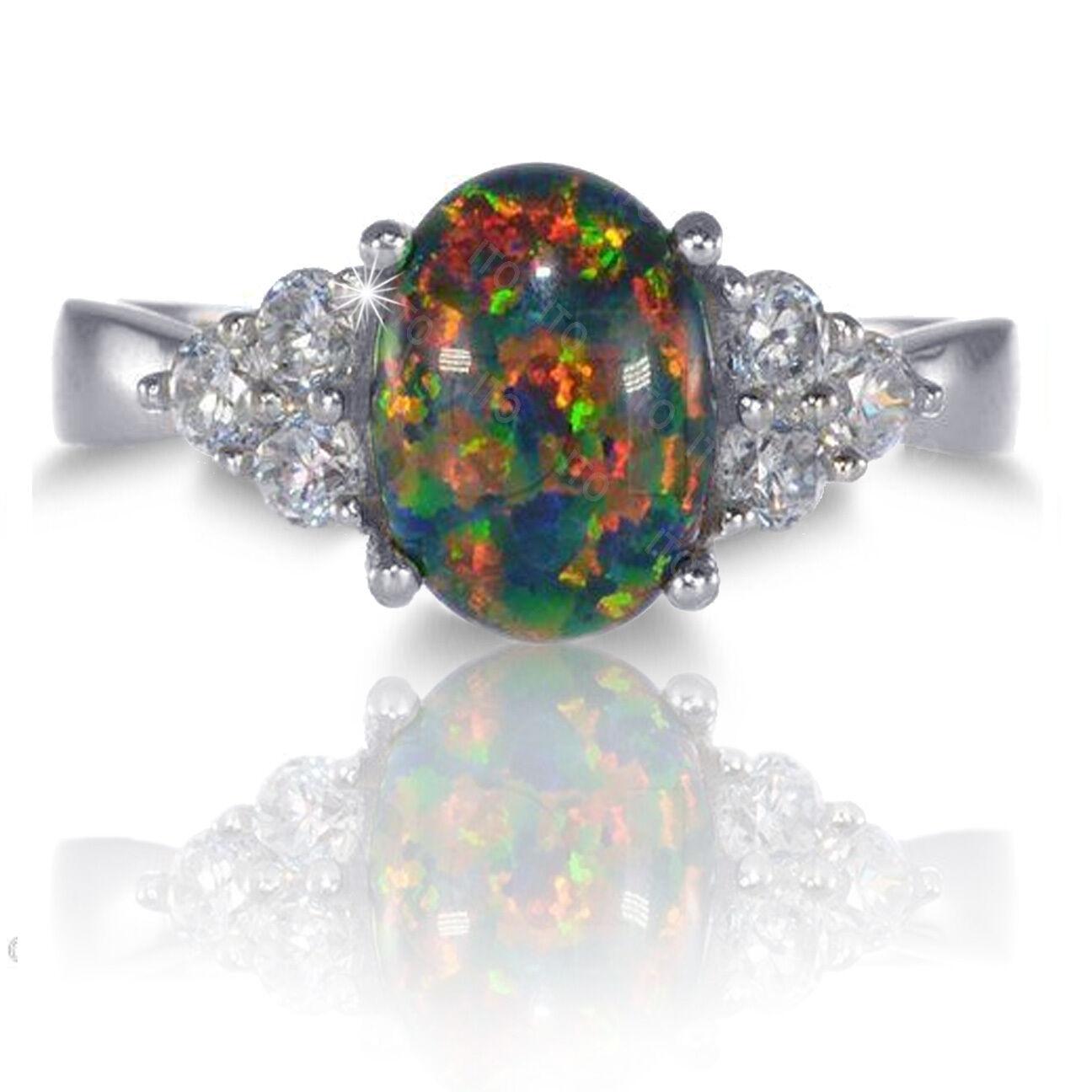 OTI Oval Australian Black Fire Opal Simulated Diamonds Ge...