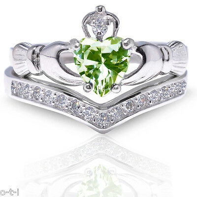 Diamond Set Celtic Ring - Peridot Claddagh Heart Simulated Diamond Celtic Sterling Silver Ring Set