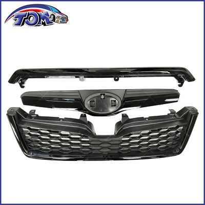 3 Piece Front Grille (Front Upper Grille Assembly For Subaru Forester 2014-2018 STI Style Black Grill )