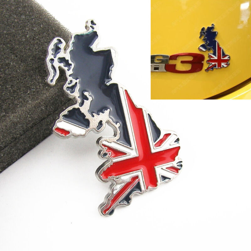 100% Metal 3D England United Kingdom Flag Logo Auto Fender 3M Sticker For Toyota