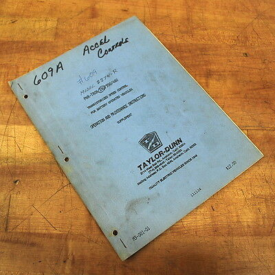 Taylor-dunn M3-001-01 Operation Maintenance Instructions Supplement - Used