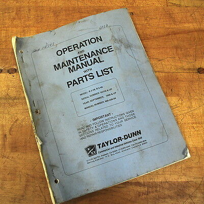 Taylor-dunn Mb-248-04 Operation Maintenance Manual With Parts List - Used