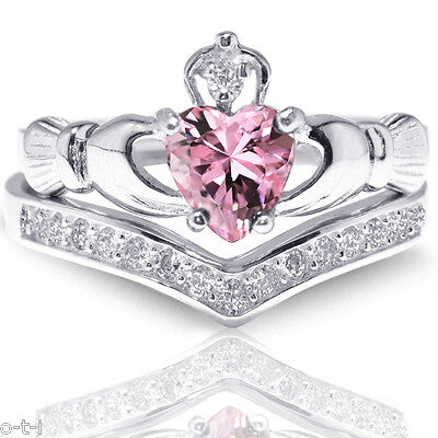 Pink Sapphire Claddagh Heart Simulated Diamond Celtic Sterling Silver Ring Set Simulated Sapphire Heart Ring