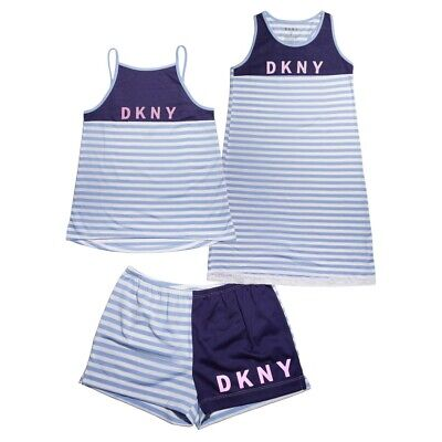 Pajamas girls size 12 DKNY Sleep Set Gown Tank Shorts Blue White Stripes 3-Piece (Girls Sleep Gown)