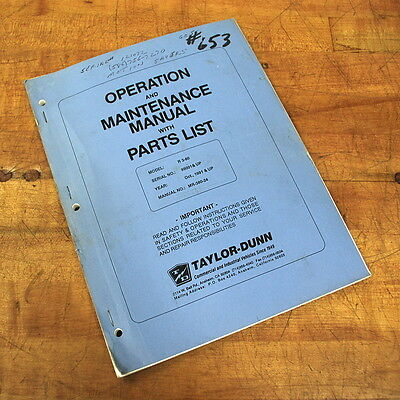 Taylor-dunn Mr-380-24 Operation Maintenance Manual With Parts List - Used