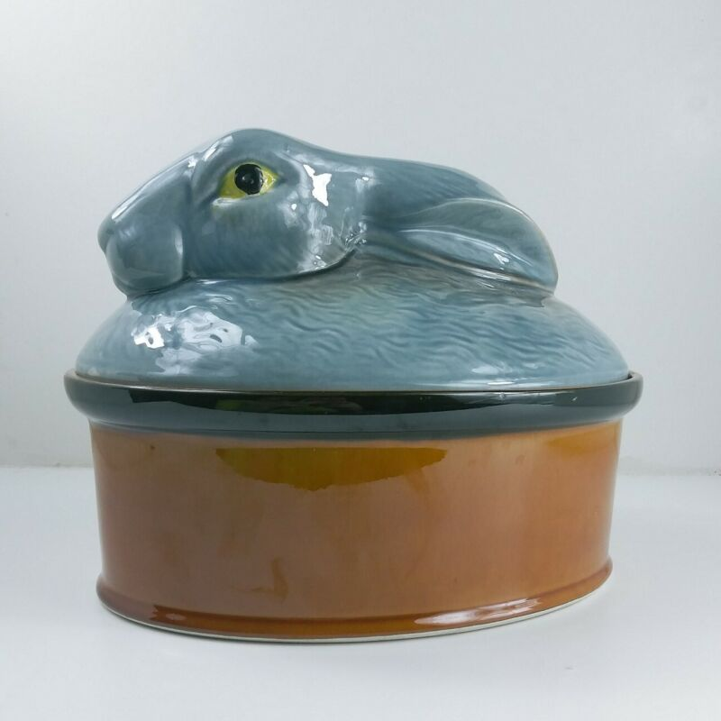 Secla Rabbit Tureen Pottery with Blue Rabbit Lid Marked Portugal