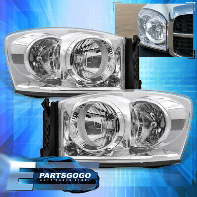 For 2006-2009 Dodge Ram 1500 2500 3500 Chrome Housing Clear Headlights Lamp Pair