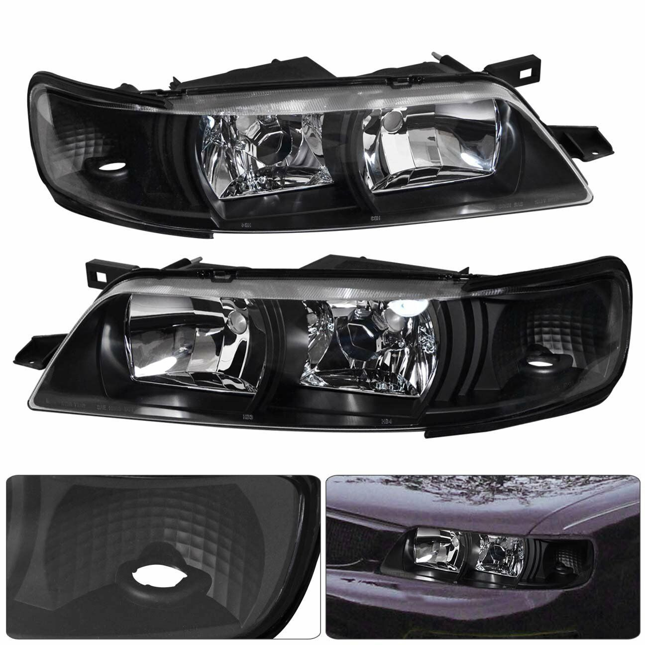 For 1995-1999 Nissan Maxima 95-99 Black Headlight Headlamp Clear ...