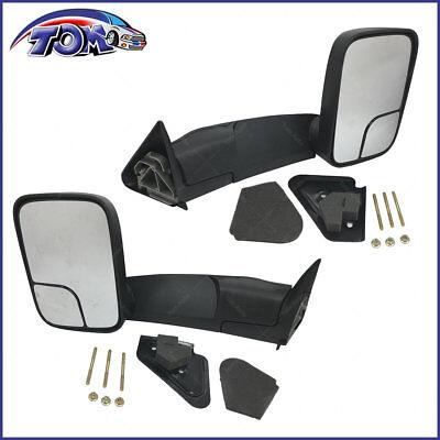 Brand New Towing Mirror Manual Textured Black Pair Set For Dodge Ram Pickup