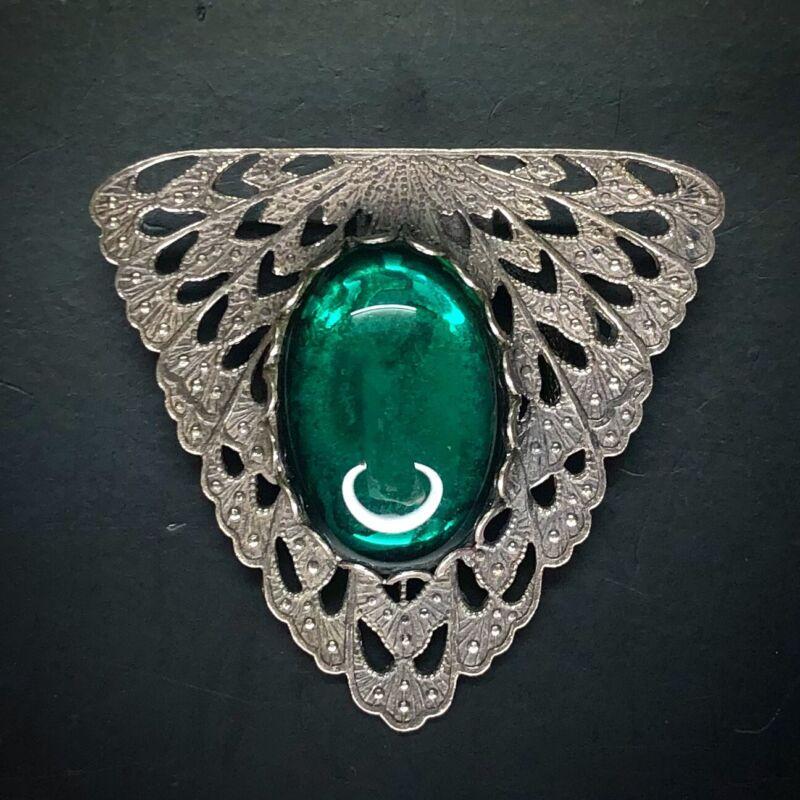 Art Nouveau Glass Cabochon Scarf Dress Clip Silver Green Gripoix Vtg Antique