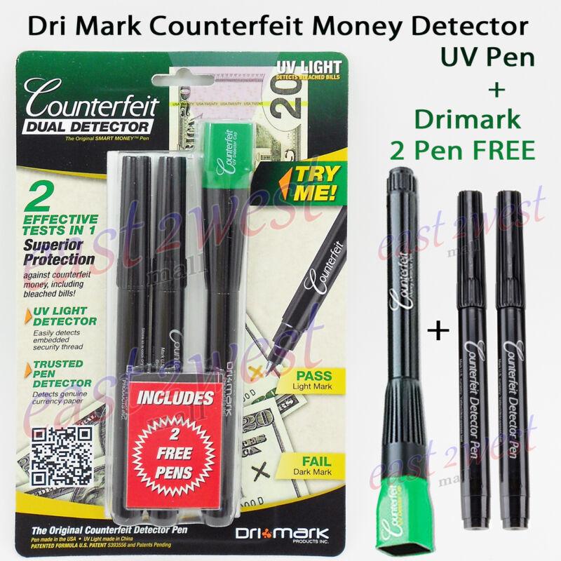 Dri Mark Smart Money Counterfeit Detector Led Light Pen +2 Pen FREE 351UVB