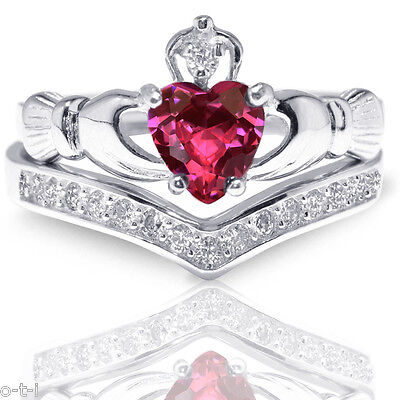 - Heart Irish Celtic Ruby Claddagh Wedding Engagement Silver Two Ring Set
