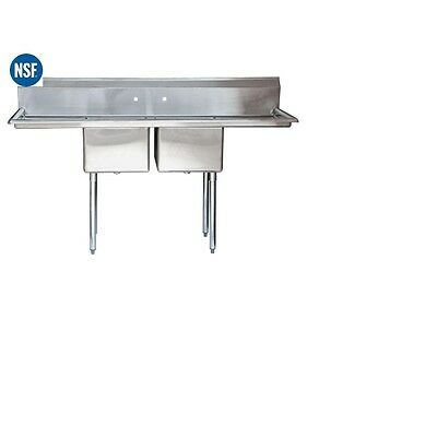 Commercial Stainless Steel Two 2 Compartment Sink - 80x26 Bowl Size 20x20