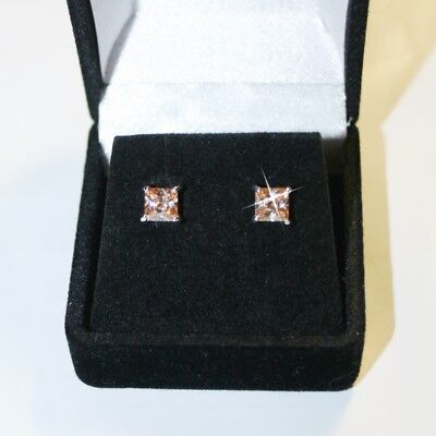 Gold Champagne Diamond Earrings - Princess Champagne Diamond Alternatives Stud Earrings 14k White Gold over 925 SS