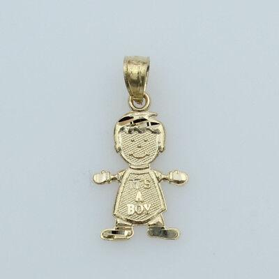 14K Real Yellow Gold Small It's A Boy Diamond Cut Charm Pendant Baby & Children Diamond Cut Boy Pendant