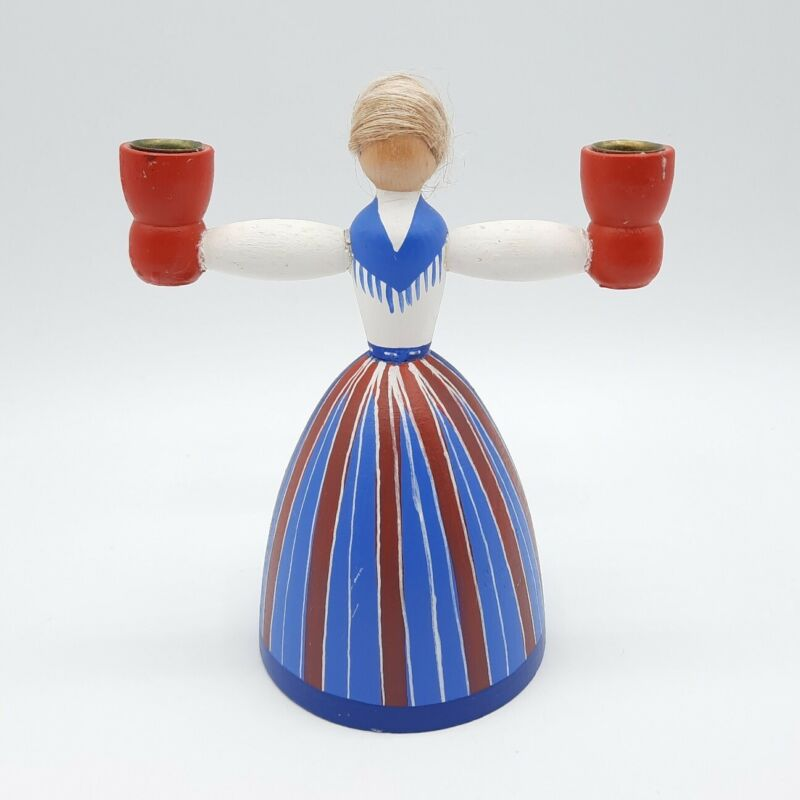 """Made in Holland Wooden Figural Candlestick Holder Woman in Folk Costume 5"""""""