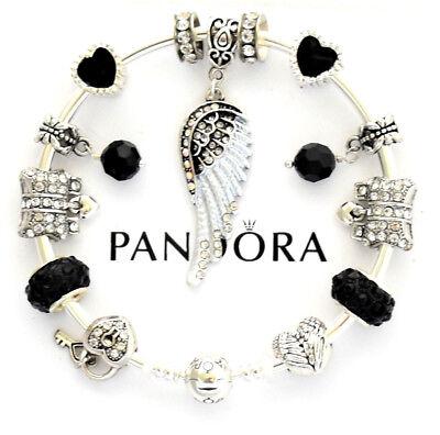 Angel Black Charm Bracelet (Authentic Pandora Bracelet Silver with Angel Wing Black European Charm)