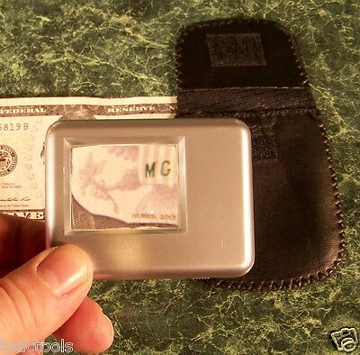 5x SQUARE Portable MAGNIFIER GLASS w/ LIGHT and CASE Batteries Included 2-1/4 ne