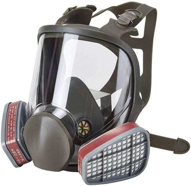 Full Face Gas Mask Painting Spraying Respirator Facepiece W/ 2x6001CN Cartridge