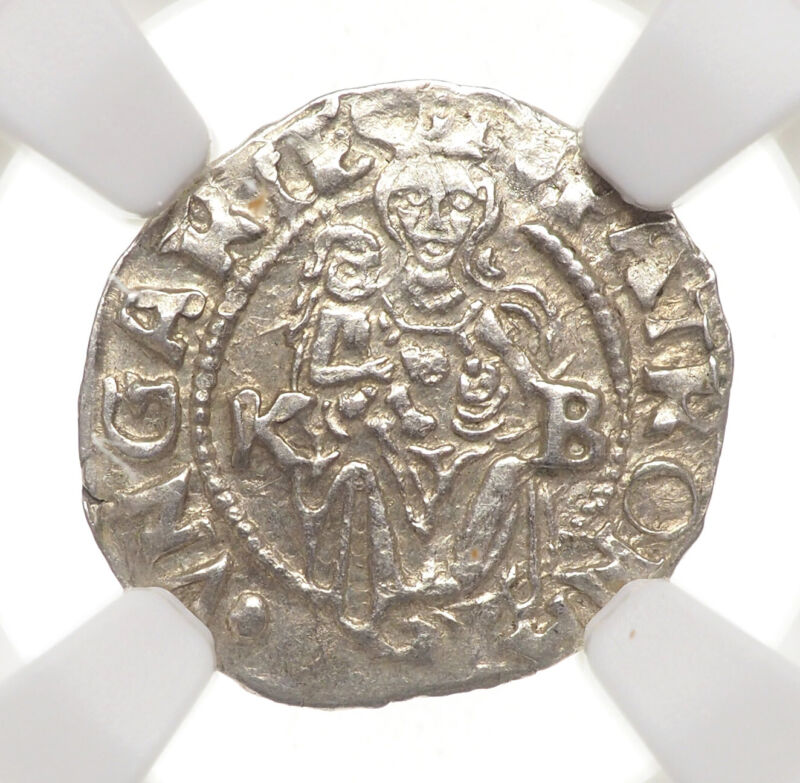 HUNGARY. Ferdinand I Silver Denar, 1545-KB, NGC MS64