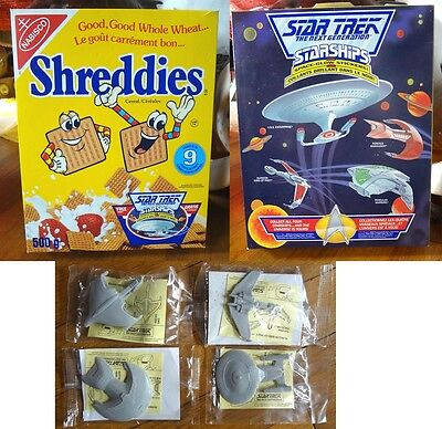 1992 Shreddies Cereal Box & Star Trek Next Generation SET of 4 Ships New MIP toy