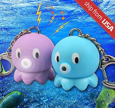 Lot 2pc Octopus Animal LED Flash Light Keychain Key Ring Charm Sound effect Cute