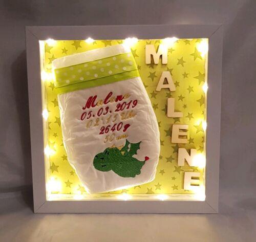Bestickte Windel im 3D Rahmen*personalisiert*mit Licht*Drache *Geburt*Geschenk*