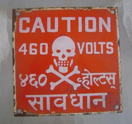 Vintage 460 Volts Danger Porcelain Sign - Skull and Crossbones