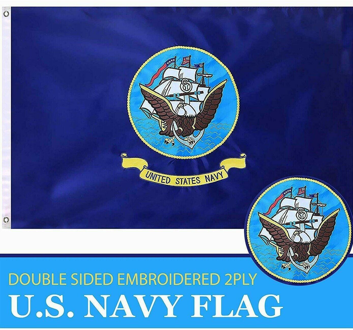 G128 - U.S. Navy Flag 3ftx5ft 3x5 3'x5' Double Sided 2ply Em