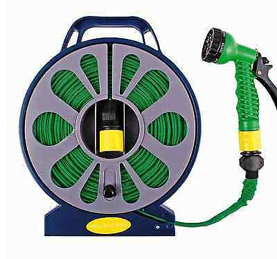 50FT 15M FLAT HOSE PIPE & REEL WITH SPRAY NOZZLE GUN GARDEN OUTDOOR WATERING