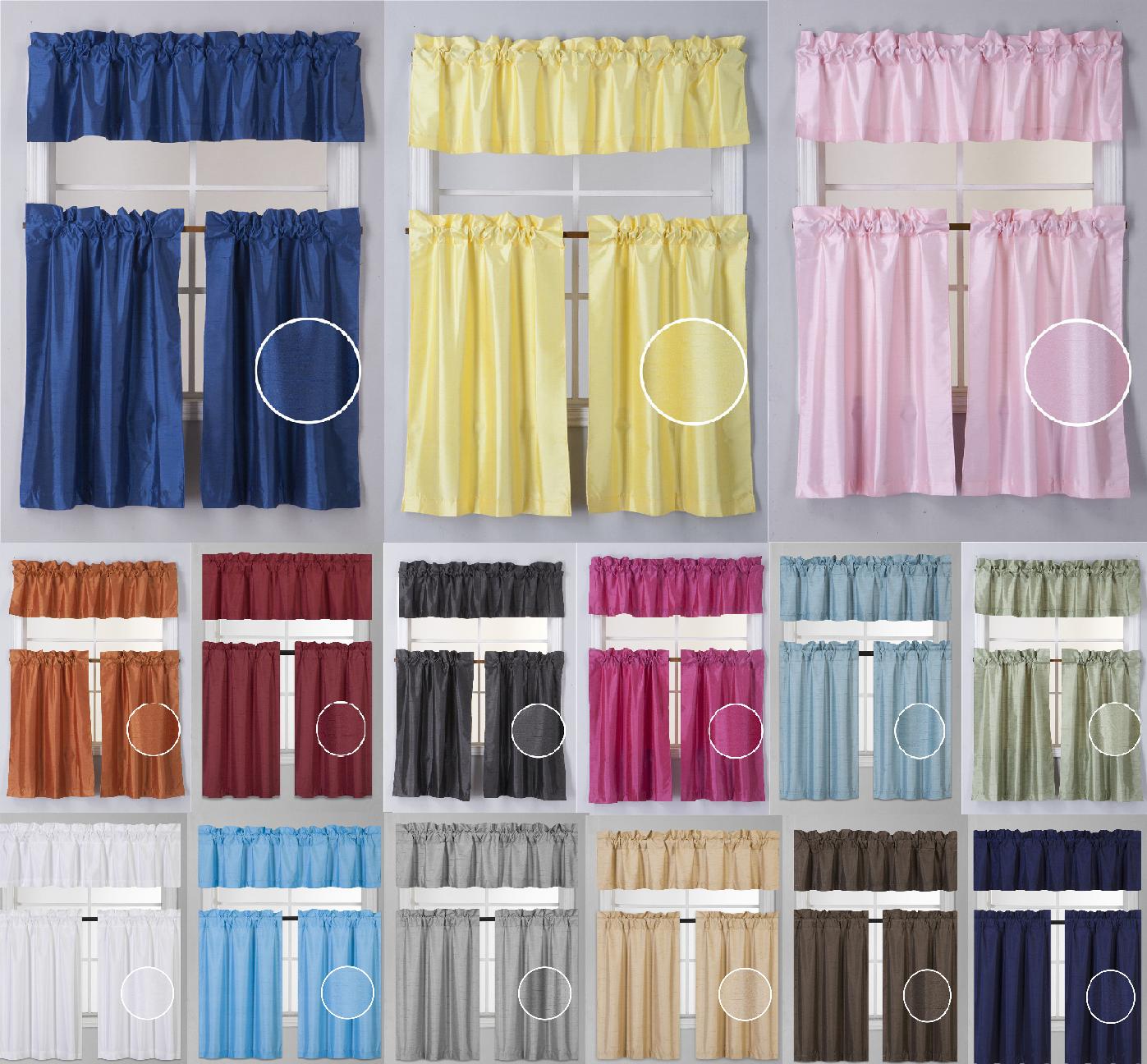 Small Window Valance Tier Faux Silk Panel Lined Drape 3PC S