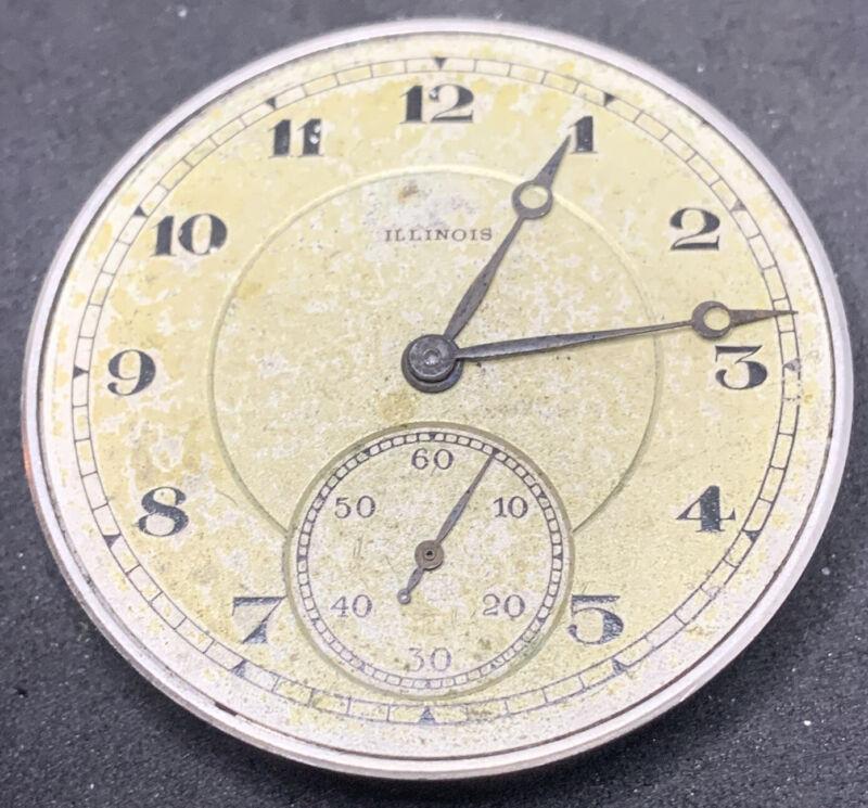 Illinois Stewart Pocket Watch Movement 12s 15j  Openface Model 3 Parts F2616