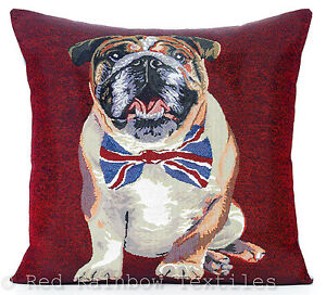 British Bulldog Tapestry 18 Inch Cushion Cover Vintage Burgundy Red Union Flag