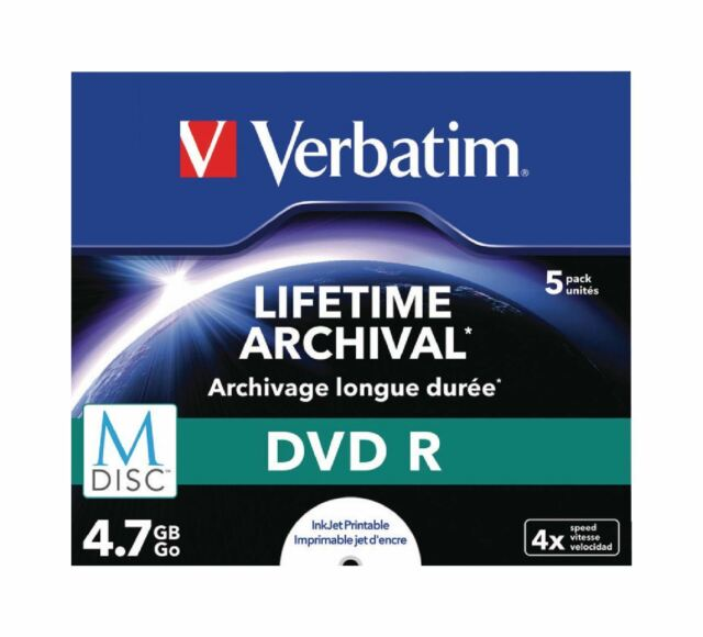 Verbatim 5 Pack M-disc DVDR 4.7GB Inkjet Printable