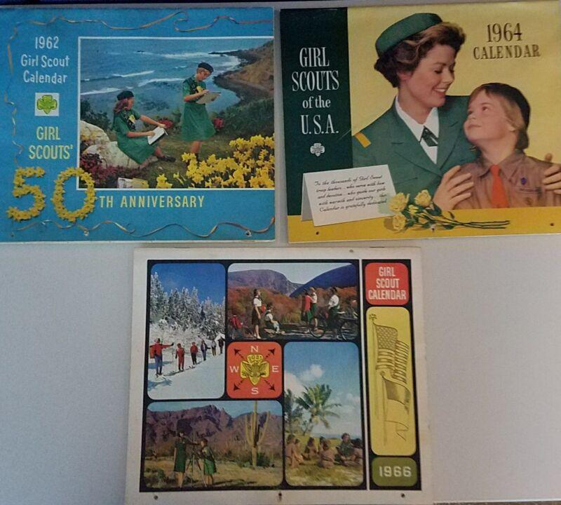 VINTAGE 1962 1964 & 1966 GIRL SCOUT CALENDAR USED W/BEAUTIFUL COLOR ARTWORK