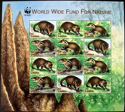 1999 MNH LIBERIA WWF MONGOOSE STAMPS SHEET OF 12 WILD ANIMALS WILDLIFE NATURE for sale  Shipping to India