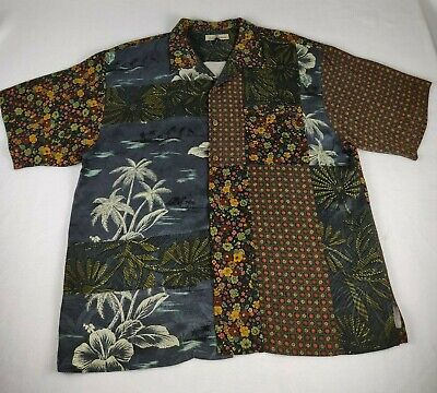 RARE Tommy Bahama Silk Floral Patchwork CAMP SHIRT Large XL  Patchwork Camp Shirt
