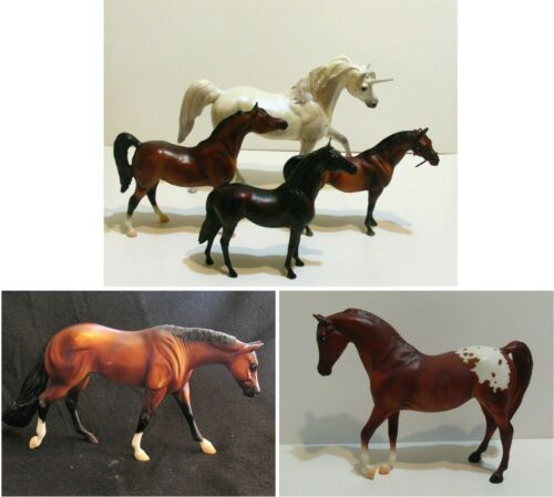 6 Vintage Model Horses Breyer Mixed Lot Including One Unicorn