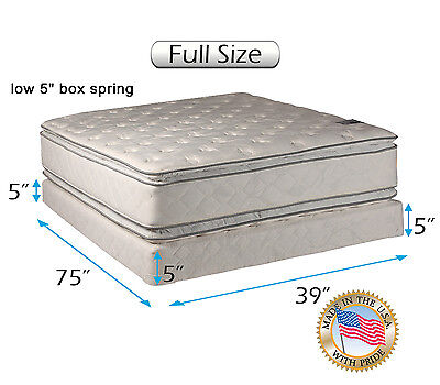 Double-sided Soft PillowTop Mattress and Low Height Box Spring Set (Full (Full Size Pillow Top Mattress And Box Spring)