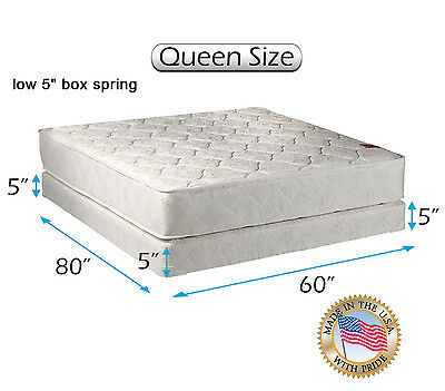 "Legacy Queen (60""x80""x8"") Mattress and Low Profile Box Spring Set - Two Sided"