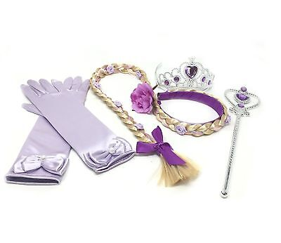 Purple Rapunzel Dress (Princess Rapunzel Purple Dress up Party Accessories 4 Piece Gift)