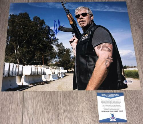 RON PERLMAN SIGNED SONS OF ANARCHY CLAY 11x14 PHOTO B w/PROOF & BECKETT BAS COA