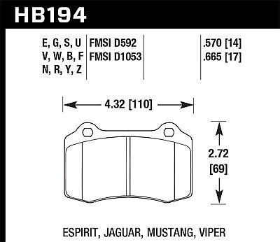 Disc Brake Pad Set-SVT Cobra R Front Hawk Perf HB194F.665